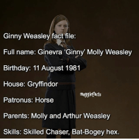 qotd : who do you think i'll be posting a fact file of next? fc: 71,2k: Ginny Weasley fact file:  Full name: Ginevra Ginny Molly Weasley  Birthday: 11 August 1981  House: Gryffindor  mu99lefacts  Patronus: Horse  Parents: Molly and Arthur Weasley  Skills: Skilled  Chaser, Bat-Bogey hex. qotd : who do you think i'll be posting a fact file of next? fc: 71,2k