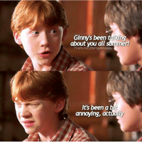 They're gonna get married so brace yourself 😏 Tag a friend! harrypotter potterhead: Ginny's been talking  about you all summer  ThePerksofBeingAWeasley  Its been a bit  annoying, actually They're gonna get married so brace yourself 😏 Tag a friend! harrypotter potterhead