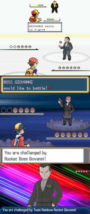 How Many Times, Old Man, and Tumblr: GIOVANNI wants  to fight   BOSS GIOVANNI  would like to battle!   You are challenged by  Rocket Boss Giovanni   You are challenged by Team Rainbow Rocket Giovanni! ommanyte: shelgon: 20 Years of being the best Poke-villain  how many times do we have to teach you this lesson, old man