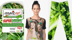 Funny, Halloween, and Meme: gir  good clean greens  SUPERGREENS!  our most nutritious salad!  the extra nutrition of five SUPERFOOD baby greens:  red & green swiss chard, tat sol, arugula & spinach  POW  washed3 0  we washed E3 ties  ET WT502 (142G)  PLASTIC 5 Funny 'Girl Laughing With Salad' Meme Halloween Costume Ideas That ...