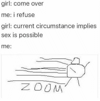 Come Over, Memes, and 🤖: girl: come over  me: i refuse  girl: current circumstance implies  sex is possible  me Heccin fast
