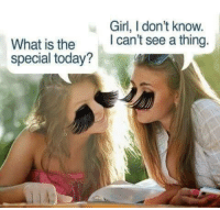 Girl, Today, and What Is: Girl, I don't know  I can't see a thing  What is the  special today?
