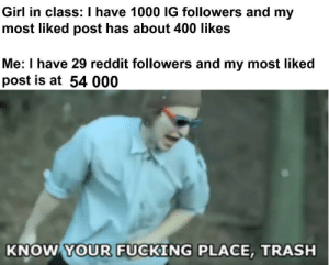 Go commit die by kayneshaw MORE MEMES: Girl in class: I have 1000 IG followers and my  most liked post has about 400 likes  Me: I have 29 reddit followers and my most liked  post is at 54 000  KNOW YOUR FUCKING PLACE, TRASH Go commit die by kayneshaw MORE MEMES