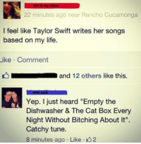 """Dad, Life, and Taylor Swift: Girl in my class  22 minutes ago near Rancho Cucamonga  I feel like Taylor Swift writes her songs  based on my life  ike Comment  and 12 others like this.  HER DAD  Yep. I just heard """"Empty the  Dishwasher & The Cat Box Every  Night Without Bitching About It"""".  Catchy tune.  8 minutes ago Like 2"""
