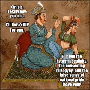 Girl's on fire  ~ Birbal: GIrl pls  Trealy love  you a lot.  Hllileave BJP  for you  But will'the  hypermasculinity  the nauseating  misogyny; and the  false sense of  national pride  leave you?  adMuchalMemes Girl's on fire  ~ Birbal
