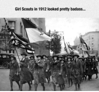 <p>Old School Girl Scouts.</p>: Girl Scouts in 1912 looked pretty badass... <p>Old School Girl Scouts.</p>