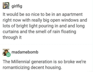 Meirl: girlfig  It would be so nice to be in an apartment  right now with really big open windows and  lots of bright light pouring in and and long  curtains and the smell of rain floating  through it  madamebomb  The Millennial generation is so broke we're  romanticizing decent housing. Meirl