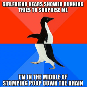 Poop, Shower, and Good: GIRLFRIEND HEARS SHOWER RUNNING  TRIES TO SURPRISE ME  I'M IN THE MIDDLE OF  STOMPING POOP DOWN THE DRAIN Oh the good old waffle stomp : AdviceAnimals