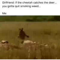 Deer, Memes, and Smoking: Girlfriend: if the cheetah catches the deer...  you gotta quit smoking weed  Me: NOT TODAY. 😂😂 memesapp @memesmerch