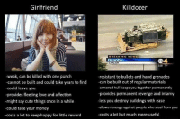 Cute, Love, and Money: Girlfriend  Killdozer  BREAKING NEWS  04  EARLIER  5:00 79  -weak, can be killed with one punch  -cannot be built and could take years to find  -could leave you  -provides fleeting love and affection  -might say cute things once in a while  could take your money  -costs a lot to keep happy for little reward  -resistant to bullets and hand grenades  -can be built out of regular materials  -armored hull keeps you together permanently  provides permanent revenge and infamy  -lets you destroy buildings with ease  -allows revenge against people who steal from you  -costs a lot but much more useful