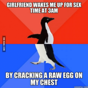 WTF was she thinking ?!?!: GIRLFRIEND WAKES ME UP FOR SEX  TIME AT 3AM  BY CRACKING A RAW EGG ON  MY CHEST  MEMEFUL.COM WTF was she thinking ?!?!