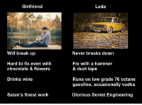 Octane: Girlfriend  Will break up  Hard to fix even with  chocolate & flowers  Drinks wine  Satan's finest work  Lada  Never breaks down  Fix with a hammer  & duct tape  Runs on low grade 76 octane  gasoline, occasionally vodka  Glorious Soviet Engineering