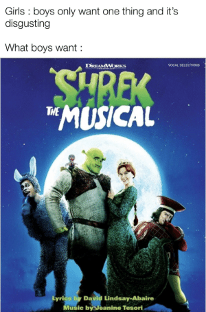 Girls, Music, and Reddit: Girls boys only want one thing and it's  disgusting  What boys want  VOCAL SELECTIONS  DREAMWORKS  THEATRICALS  EX  *MUSICAL  THE  Lyrics by David Lindsay-Abaire  Music by Jeanine Tesori We can only dream