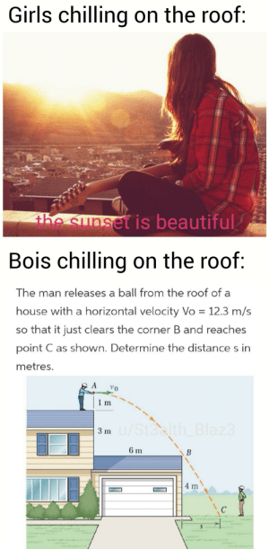 Beautiful, Girls, and House: Girls chilling on the roof:  he sunset is beautiful  Bois chilling on the roof:  The man releases a ball from the roof of a  house with a horizontal velocity Vo 12.3 m/s  so that it just clears the corner B and reaches  point C as shown. Determine the distance s in  metres.  A  1 m  3 m/St3alth_Blaz3  6 m  B  4 m  S  vww  ww so relatable