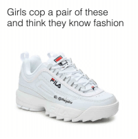 Fashion, Girls, and Memes: Girls cop a pair of these  and think they know fashion  G: @thegainz Man these piss me off