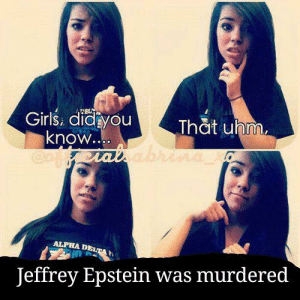 Meirl: Girls. didayou  know..  Cauaiabri  That uhm.  ALPHA DELTA  Jeffrey Epstein was murdered Meirl