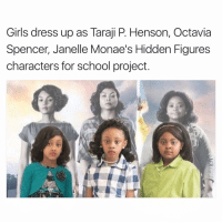octavia: Girls dress up as Taraji P. Henson, Octavia  Spencer, Janelle Monae's Hidden Figures  characters for school project