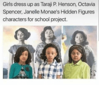 octavia: Girls dress up as Taraji P Henson, Octavia  Spencer, Janelle Monae's Hidden Figures  characters for school project.