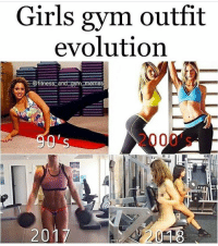 Lmaoo accurate af: Girls gym outfit  evolution  itness and gym memes  2000's -  201 Lmaoo accurate af