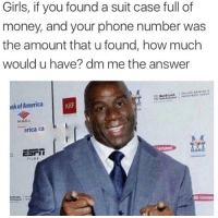 """America, Girls, and Memes: Girls, if you found a suit case full of  money, and your phone number was  the amount that u found, how much  would u have? dm me the answer  nkof America  AHF  MAGI  erica,ca  cari İ  AG <p>911 via /r/memes <a href=""""http://ift.tt/2obIkCY"""">http://ift.tt/2obIkCY</a></p>"""