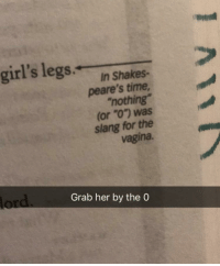 "girls legs: girl's legs  In Shakes-  peare's time  ""nothing  (or ""O"") was  slang for the  vagina  Grab her by the O"