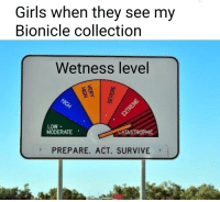 """Girls, Bionicle, and Change: Girls when they see my  Bionicle collection  Wetness level  LOW -  MODERATE  ATASTROPHIC  PREPARE. ACT. SURVIVE <p>Great potential, you can change the caption and """"wetness"""". INVEST! via /r/MemeEconomy <a href=""""https://ift.tt/2r75s7G"""">https://ift.tt/2r75s7G</a></p>"""