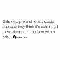 preach: Girls who pretend to act stupid  because they think it's cute need  to be slapped in the face with a  brick  Aasarcasm only preach