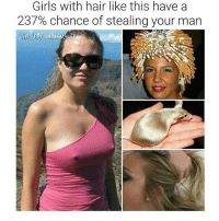 this is such a weak meme why am i posting it: Girls with hair like this have a  237% chance of stealing your man this is such a weak meme why am i posting it