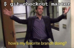 When you spend all your time on feature branches: $ git checkout master  how's my favorite branch doing?  imgflip.com When you spend all your time on feature branches