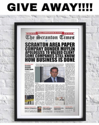 Friends, Love, and Memes: GIVE AWAY!!I!  HELL CONVENTION IN TOWN  The Scranton Times  SCRANTON AREA PAPER  COMPANY DUNDER MIFFLIN  APOLOGIZES TO VALUED CLIENT  SOME COMPANIES STILL KNOW  HOW BUSINESS IS DONE  Strikes Agala above poster giveaway! (or equivalent value of item in my store, $30) how to enter! 👇🏼 1) follow our three accounts: @theofficeshow @theofficeshowvideos @theofficeshow_ 2) tag two friends (or more we'll love u) 3) like this post Random winner will be announced in 24 hours in the comments!