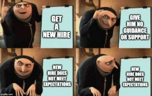 new hire problems: GIVE  HIM NO  GUIDANCE  OR SUPPORT  GET  NEW HIRE  NEW  HIRE DOES  NOT MEET  EXPECTATIONS  NEW  HIRE DOES  NOT MEET  EХPЕСTАTIONS  imgfilip.com new hire problems