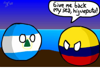 Give Me 6dck  Give me back  My sea, hivepot)  idceputal  OO  0 Nicaraguaball can into steal sea to me, i want my sea back thief!!   By: Camilo Andres Herrera.