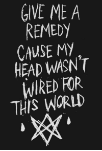 Remedy: GIVE ME A  REMEDy  CAUSE MY  HEAD WASN'T  WIRED FOR  THIS WORLI