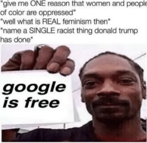 "donald: ""give me ONE reason that women and people  of color are oppressed""  ""well what is REAL feminism then""  ""name a SINGLE racist thing donald trump  has done""  google  is free"