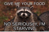 serious: GIVE ME YOUR FOOD  NO SERIOUSLY, I'M  STARVING  memes.c