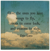 Dad, Love, and Memes: Give the ones you love  wings to fly  roots to come back  and reasons to stay  Dalai Lama  fb/joy of dad Thanks Joy of Dad <3  FREE upcoming parenting webinar==>http://bit.ly/Happy_ParentingLink2
