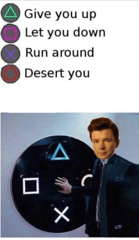 Run, Down, and Desert: Give you up  Let you down  Run around  Desert you