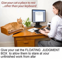 """<p>[<a href=""""https://www.reddit.com/r/surrealmemes/comments/7rjblw/floating_judgment_box/"""">Src</a>]</p>: Give your cat a place to rest  ...other than your keyboard  Give your cat the FLOATING JUDGMENT  BOX to allow them to stare at your  unfinished work from afar <p>[<a href=""""https://www.reddit.com/r/surrealmemes/comments/7rjblw/floating_judgment_box/"""">Src</a>]</p>"""