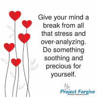 Love, Dr. Shawne Project Forgive: Give your mind a  break from all  that stress and  over-analyzing  Do something  soothing and  precious for  yourself.  Project Forgive Love, Dr. Shawne Project Forgive