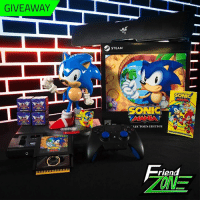 Dank, Friends, and Steam: GIVEAWAY  STEAM  SONIC  SONIC  A-LE('TOR'S EDITION  riend  ONE You like shiny things, right? Our friends at Razer are giving away a signed Sonic Mania Collector's Edition, Mania Intro Manuals, Kidrobot blind box figures, and more!