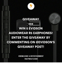 Memes, 🤖, and Bolt: GIVEAWAY  WIN 5 EVIDSON  AUDIOWEAR RSS EARPHONES!  ENTER THE GIVEAWAY BY  COMMENTING ON @EVIDSON'S  GIVEAWAY POST!  KNOWLEDGE ENTERTAINMENT  FACT BOLT COM Win 5 of these evidson audiowearR5 earphones with high definition sound and remote control mic at @evidson @evidson @evidson @evidson factbolt evidson