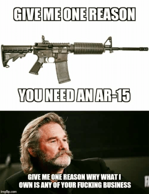 Fucking, Memes, and Business: GIVEMEONE REASON  YOUNEED AN AR-15  GIVE ME ONE REASON WHY WHATI  OWN ISANY OF YOUR FUCKING BUSINESS  imgflip.com Nunya.          ~ITS