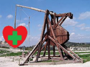 Given that we are self-isolating, sending good vibes has excruciatingly difficult. I propose to use trebuchets to send love and health to all our friends and families: Given that we are self-isolating, sending good vibes has excruciatingly difficult. I propose to use trebuchets to send love and health to all our friends and families