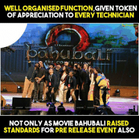 Best Telugu event ... Last lo PRABHAS thanks darlings, thanks darlings ani oka 20 times ani Vuntadu....: GIVEN TOKEN  OF APPRECIATION TO  EVERY TECHNICIAN  hari  SSRAIAMot  OO  THE Co  NOT ONLY AS MOVIE BAHUBALI RAISED  STANDARDS FOR  PRERELEASE EVENT ALSO Best Telugu event ... Last lo PRABHAS thanks darlings, thanks darlings ani oka 20 times ani Vuntadu....