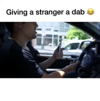 Funny, Link, and Dab: Giving a stranger a dab @dabado portable enail dab to random stranger 😂 link in bio to find out more about this device!! 🎥: @stevenhelfer