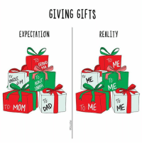 WOOPS 🎁 (🎨: @carolinewurtzel): GIVING GIFTS  EXPECTATION  REALITY  ME  10  ME  ME  10  TO MOM  To ME  ME WOOPS 🎁 (🎨: @carolinewurtzel)