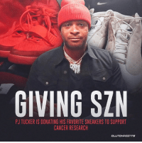 PJ Tucker is being very generous and selfless this holiday season 🙏 @rockets_nation: GIVING SZN  PJ TUCKER IS DONATING HIS FAVORITE SNEAKERS TO SUPPORT  CANCER RESEARCH PJ Tucker is being very generous and selfless this holiday season 🙏 @rockets_nation