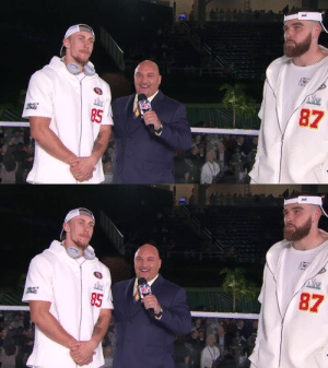 .@gkittle46 and @tkelce dishing out compliments to each other on stage in Miami. #SBLIV  📺: #SBOpeningNight on @nflnetwork https://t.co/5ncSop5AmB: .@gkittle46 and @tkelce dishing out compliments to each other on stage in Miami. #SBLIV  📺: #SBOpeningNight on @nflnetwork https://t.co/5ncSop5AmB
