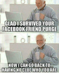 Blessed, Reddit, and Clue: GLAD ISURVIVED YOUR  FACEBOOKFRIEND PURGE  NOWI CAN  HAVING NO CLUE WHO YOUARE  GOBACKTO