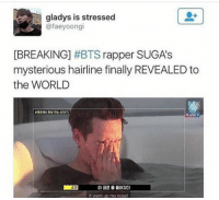 "Hairline, Tumblr, and Blog: gladys is stressed  @faeyoongi  [BREAKING] #BTS rapper SUGA's  mysterious hairline finally REVEALED to  the WORLD  VLIVE+  슈가  아 코로 물 들어갔다  It went up my nose! <p><a href=""http://iipandai.tumblr.com/post/149720695624/its-glorious"" class=""tumblr_blog"">iipandai</a>:</p>  <blockquote><p>It's glorious</p></blockquote>"